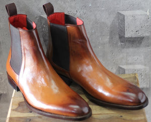leather404 Clothing, Shoes & Accessories:Men's Shoes:Boots Handmade Tan Chelsea Leather Boot