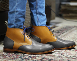 leather404 Clothing, Shoes & Accessories:Men's Shoes:Boots Handmade Gray Tan Chukka Ankle Boots