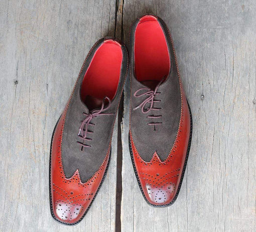 leather404 Clothing, Shoes & Accessories:Men's Shoes:Dress Shoes Handmade Gray Burgundy Leather suede Shoes