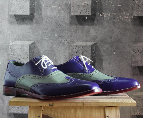 leather404 Clothing, Shoes & Accessories:Men's Shoes:Dress Shoes Men's Blue & Gray Wing Tip Lace Up Leather Shoes