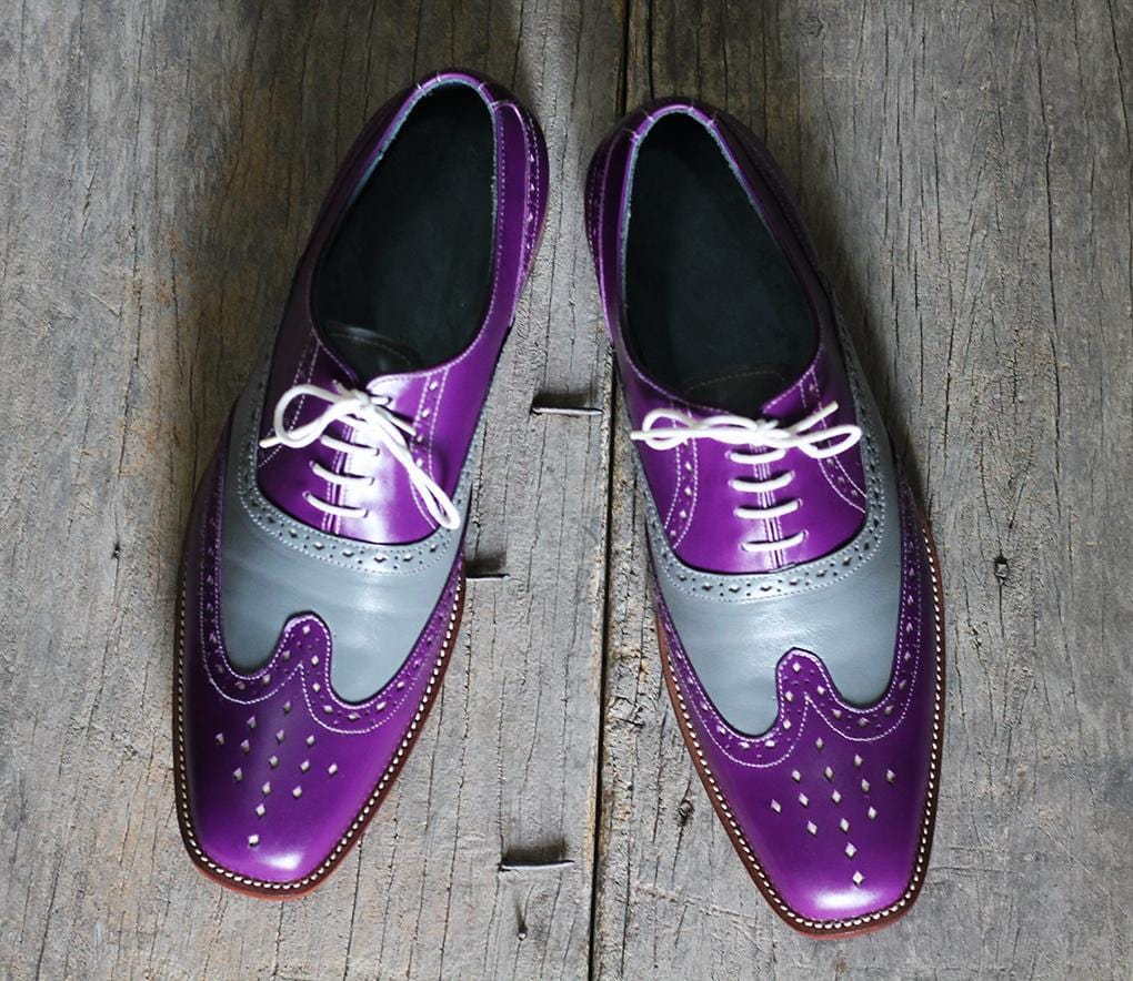 leather404 Clothing, Shoes & Accessories:Men's Shoes:Dress Shoes Men's Purple & Gray Wing Tip Lace Up Leather Shoes