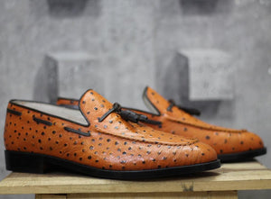 leather404 Clothing, Shoes & Accessories:Men's Shoes:Dress Shoes Handmade Ostrich Tan Leather Loafers Tussles Shoes