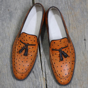 leather404 Clothing, Shoes & Accessories:Men's Shoes:Dress Shoes Copy of Black Leather Loafers Yellow Tussles Shoes