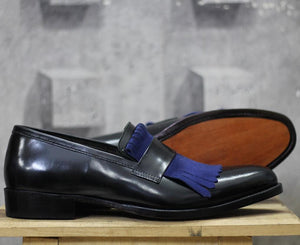 leather404 Clothing, Shoes & Accessories:Men's Shoes:Dress Shoes Handmade Black Blue Fringe Leather Loafers Tussles Shoes