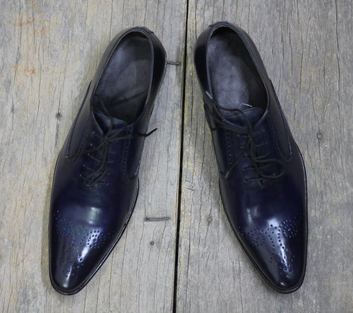 leather404 Clothing, Shoes & Accessories:Men's Shoes:Dress Shoes Navy Blue Brogue Lace Up Leather Shoes for Men's