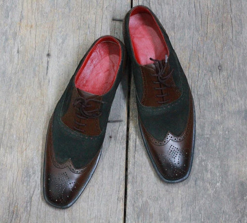leather404 Clothing, Shoes & Accessories:Men's Shoes:Dress Shoes Men's Brown Black Wing Tip Brogue Leather Suede Shoes