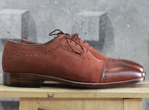 leather404 Clothing, Shoes & Accessories:Men's Shoes:Dress Shoes Men's Brown Leather Suede Cap Toe Brogue Lace Up Shoes