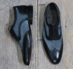 leather404 Clothing, Shoes & Accessories:Men's Shoes:Dress Shoes Black Gray Wing Tip Leather Suede Men's Shoes