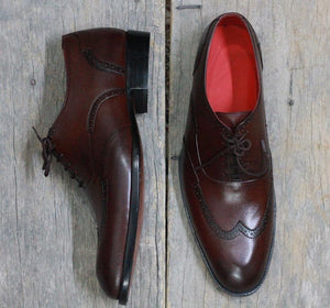 leather404 Clothing, Shoes & Accessories:Men's Shoes:Dress Shoes Handmade Brown Wing Tip Leather Men's Shoes