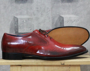 leather404 Clothing, Shoes & Accessories:Men's Shoes:Dress Shoes Men's Handmade Stylish Burgundy Brogue Leather Lace Up Shoes