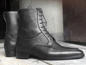 leather404 Clothing, Shoes & Accessories:Men's Shoes:Boots Ankle High Black Split Toe Leather Lace Up Men's Boot