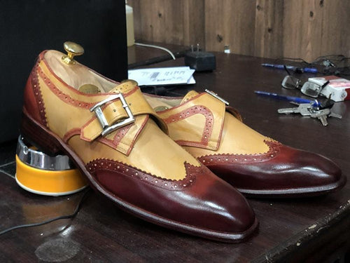 leather404 Clothing, Shoes & Accessories:Men's Shoes:Dress Shoes Tan Burgundy Wing Tip Monk Leather Men's Shoes