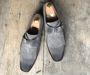 leather404 Clothing, Shoes & Accessories:Men's Shoes:Boots Gray Fringe Buckle Suede Shoes For Men's