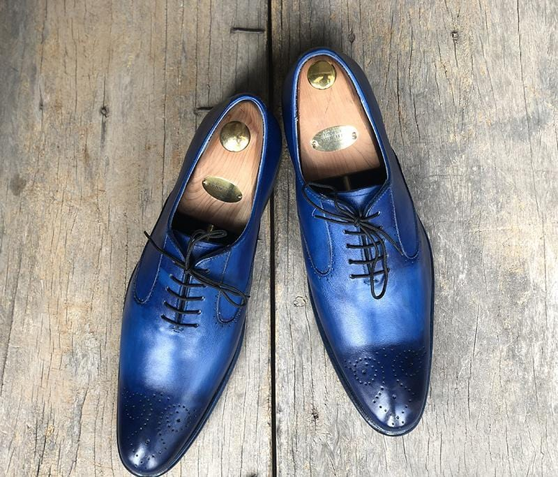 leather404 Clothing, Shoes & Accessories:Men's Shoes:Dress Shoes Men's Blue Brogue Pointed Toe Leather Lace Up Shoes