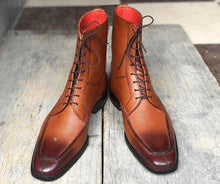 leather404 Clothing, Shoes & Accessories:Men's Shoes:Boots Ankle High Brown Split Toe Leather Lace Up Men's Boot