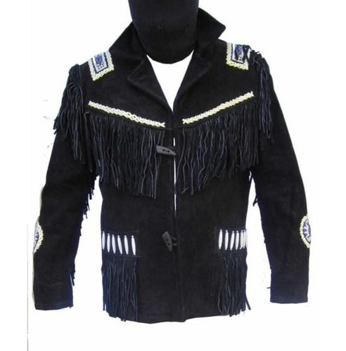 leather404 Clothing, Shoes & Accessories:Men's Clothing:Coats & Jackets s Handmade Men's Fringe Jacket Western Wear Cowboy Black Suede Jacket