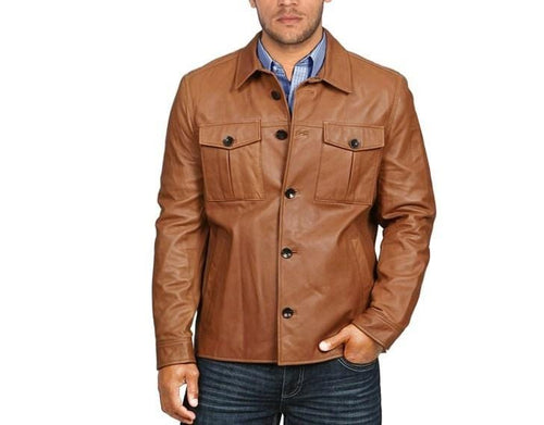 leather404 Clothing, Shoes & Accessories:Men's Clothing:Coats & Jackets s Long Sleeve Leather men's real leather Stylish brown Leather Jacket