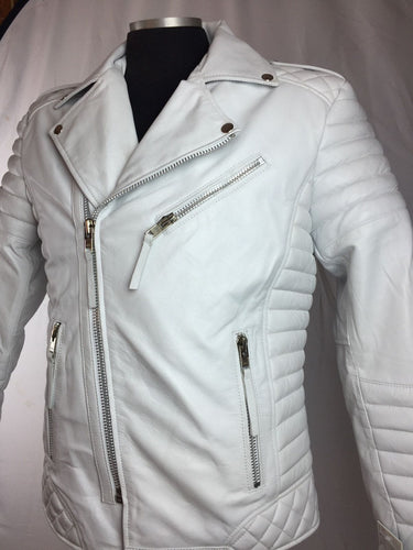 leather404 Clothing, Shoes & Accessories:Men's Clothing:Coats & Jackets s Men's Genuine Lambskin Leather Biker Jacket Motorcycle Style White Color Jacket