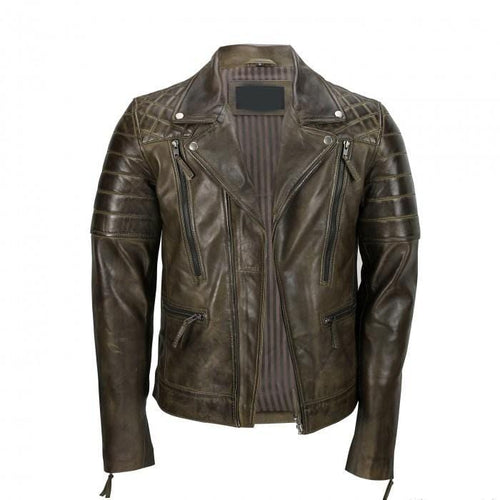 leather404 Clothing, Shoes & Accessories:Men's Clothing:Coats & Jackets New Men's Brown Sheep Leather Vintage Style Biker Fashion Casual Leather Jackets