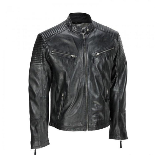 leather404 Clothing, Shoes & Accessories:Men's Clothing:Coats & Jackets Men's Black Vintage Biker Style Waxed Sheep Skin Fashion Jacket