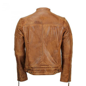 leather404 Clothing, Shoes & Accessories:Men's Clothing:Coats & Jackets Men's Tan Vintage Biker Style Waxed Sheep Skin Fashion Jacket