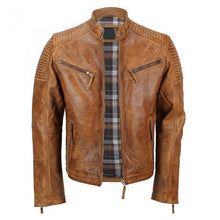 leather404 Clothing, Shoes & Accessories:Men's Clothing:Coats & Jackets s Men's Tan Vintage Biker Style Waxed Sheep Skin Fashion Jacket