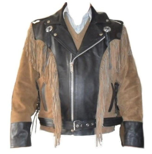 leather404 Clothing, Shoes & Accessories:Men's Clothing:Coats & Jackets s Men 1980's Suede Leather Black Beige Jacket ,Cowboy Suede Fringe Jacket