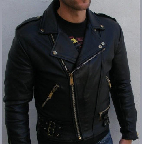 leather404 Clothing, Shoes & Accessories:Men's Clothing:Coats & Jackets s Men's Black Biker Leather Jacket Motorbike Leather Belted Jackets