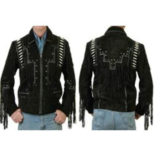 leather404 Clothing, Shoes & Accessories:Men's Clothing:Coats & Jackets Men's Black Cowboy Suede Jacket, Cowboy Style Suede Jacket With Fringe