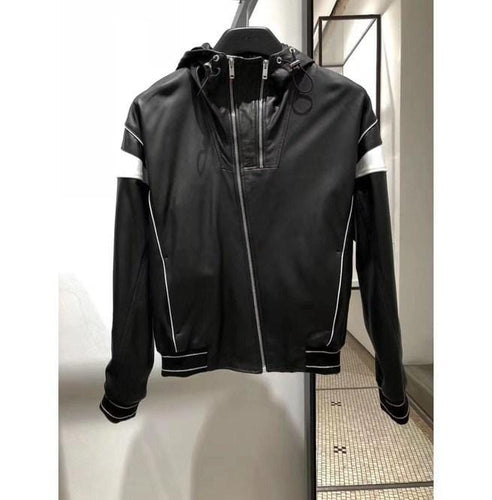 leather404 Clothing, Shoes & Accessories:Men's Clothing:Coats & Jackets s Men's Black White Hooded Leather Jacket, Men's Handmade Leather Jackets