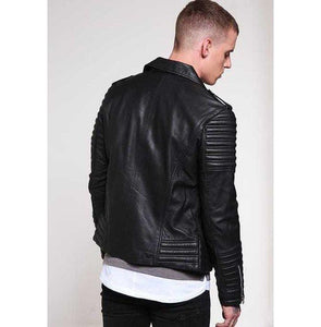leather404 Clothing, Shoes & Accessories:Men's Clothing:Coats & Jackets Men's Padded Black Motorcycle Fashion Leather Jacket, Men Winter Fashion Jackets