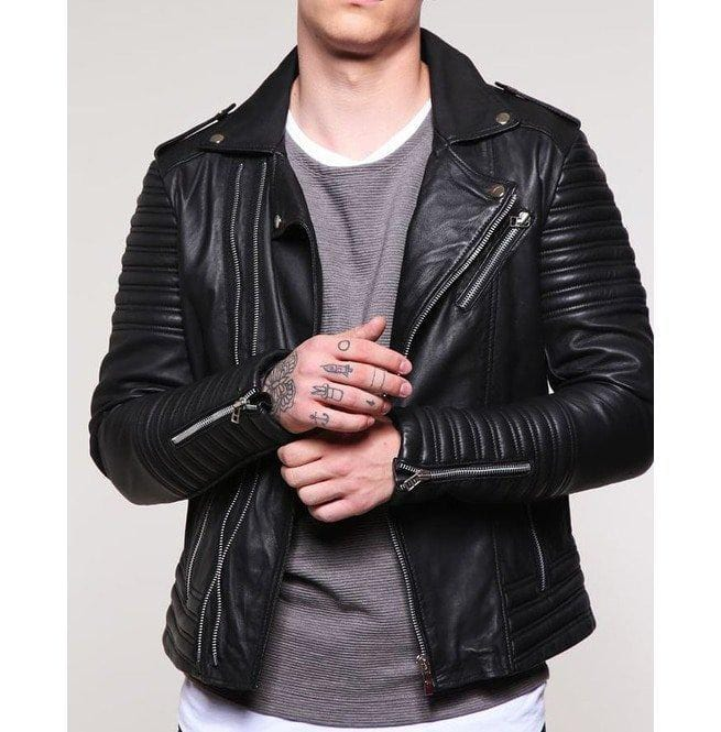 leather404 Clothing, Shoes & Accessories:Men's Clothing:Coats & Jackets s Men's Padded Black Motorcycle Fashion Leather Jacket, Men Winter Fashion Jackets