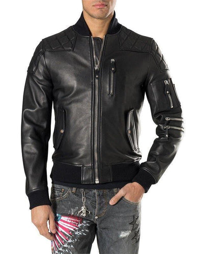 leather404 Clothing, Shoes & Accessories:Men's Clothing:Coats & Jackets s Men Black Trendy Bomber Leather Biker Designer Fashion Highway Jacket