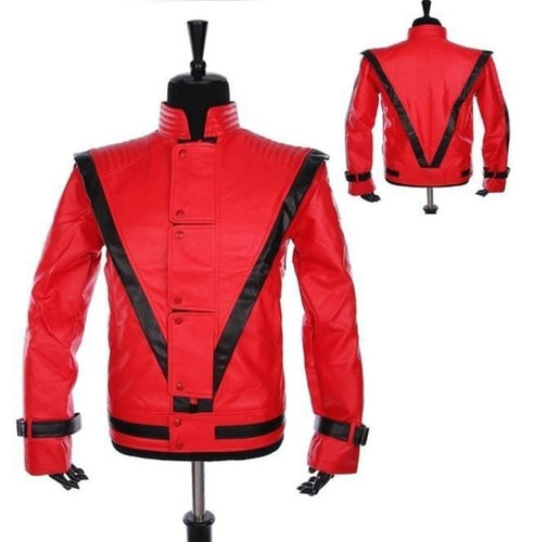 leather404 Clothing, Shoes & Accessories:Men's Clothing:Coats & Jackets s Men's Celebrities Red Thriller Premium Michael Jackson Leather Jackets