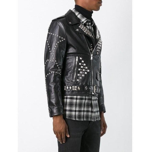 leather404 Clothing, Shoes & Accessories:Men's Clothing:Coats & Jackets Men's Classic Sliver Studded Leather, Biker Leather Black Jackets