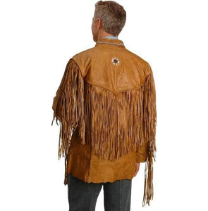 leather404 Clothing, Shoes & Accessories:Men's Clothing:Coats & Jackets Men's Cowboy Style Tan Leather Jacket Western Style Fringe Leather Jackets