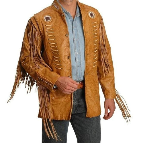 leather404 Clothing, Shoes & Accessories:Men's Clothing:Coats & Jackets s Men's Cowboy Style Tan Leather Jacket Western Style Fringe Leather Jackets