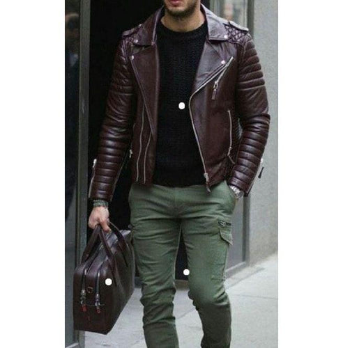 leather404 Clothing, Shoes & Accessories:Men's Clothing:Coats & Jackets s Men's Chocolate Brown Padded Motorcycle Fashion Leather Jackets