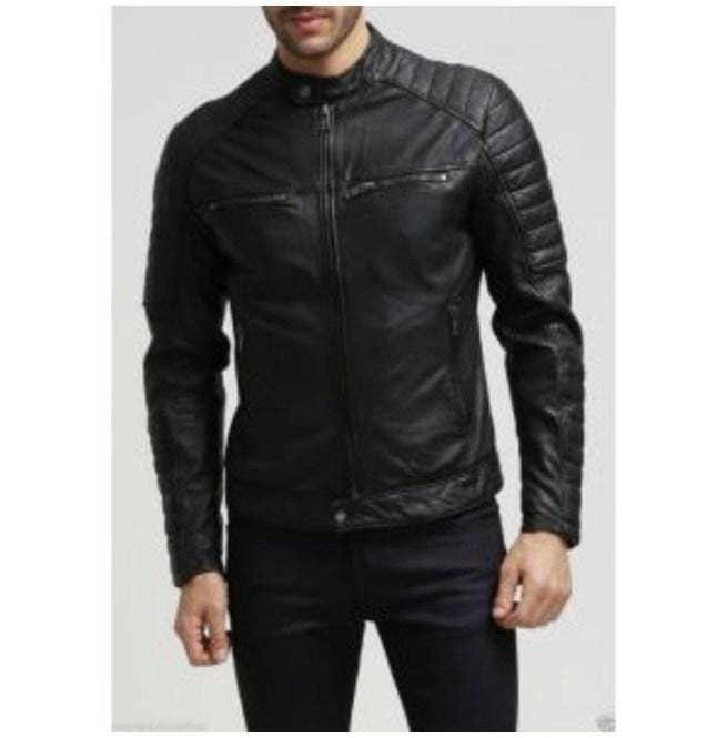 leather404 Clothing, Shoes & Accessories:Men's Clothing:Coats & Jackets s Men's Fashion Black Leather Motorcycle Leather Jacket Biker Jacket