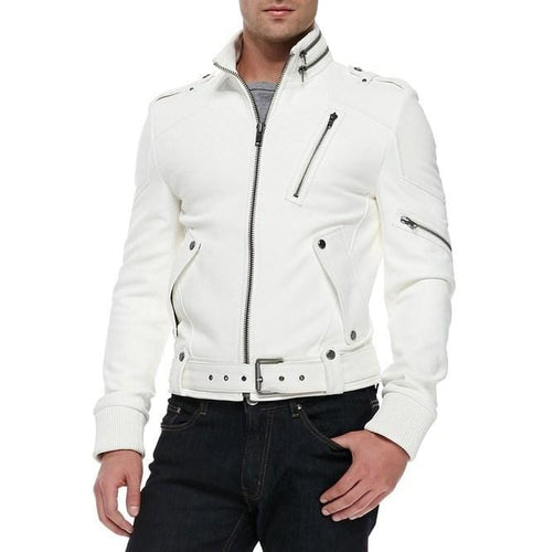leather404 Clothing, Shoes & Accessories:Men's Clothing:Coats & Jackets s Men's Fashion Leather White Genuine Leather Belted Jacket