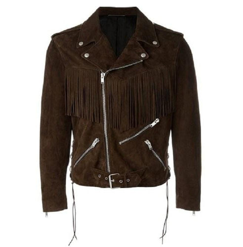 leather404 Clothing, Shoes & Accessories:Men's Clothing:Coats & Jackets s Men's Fringe Motorcycle Suede Jacket Men's Clothing, Cow Boy Brown Western Jacket