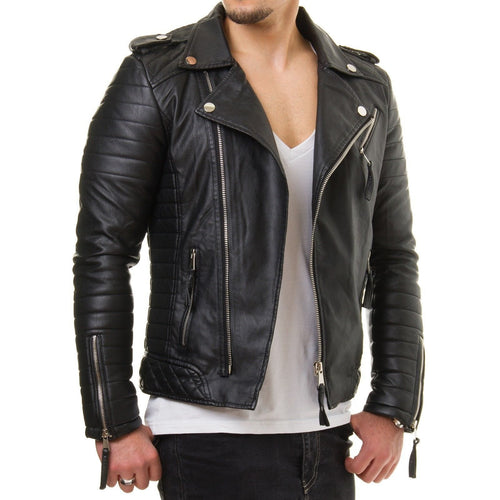leather404 Clothing, Shoes & Accessories:Men's Clothing:Coats & Jackets s Men's Motorcycle Genuine Lambskin Leather Jacket Black Slim fit Biker jacket