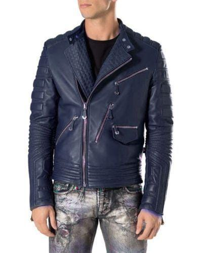 leather404 Clothing, Shoes & Accessories:Men's Clothing:Coats & Jackets s Men's Navy Blue Motorbike Leather Jacket, Classic Trendy Scooter Fashion Jacket