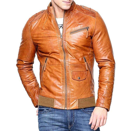 leather404 Clothing, Shoes & Accessories:Men's Clothing:Coats & Jackets s Men's Real Lambskin Tan Brown Leather Motorcycle Slim fit Biker Bomber Jacket