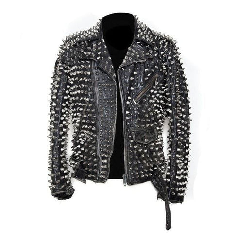 leather404 Clothing, Shoes & Accessories:Men's Clothing:Coats & Jackets s Men's Silver Studded Custom Patches Long Spike Brando Belted Rocker Black Jacket