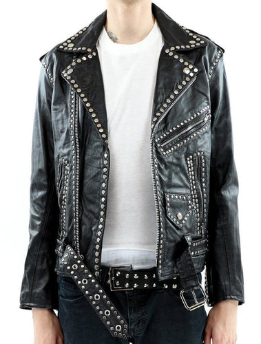 leather404 Clothing, Shoes & Accessories:Men's Clothing:Coats & Jackets s Men's Silver Studded Jacket Black Punk Silver Spiked Leather Belted Biker Jacket
