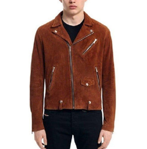 leather404 Clothing, Shoes & Accessories:Men's Clothing:Coats & Jackets s Men's Tan Brown Suede Leather Jacket, Men's Fashion Zipper Jacket