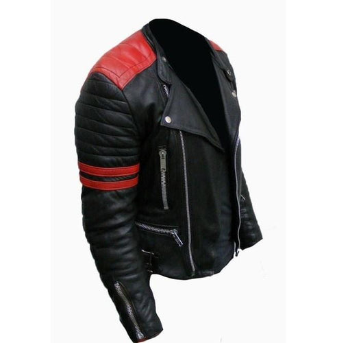 leather404 Clothing, Shoes & Accessories:Men's Clothing:Coats & Jackets Men's Black & Red Brando Fashion Jacket Red Striped Leather Jacket