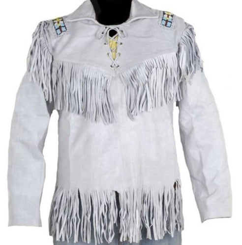 leather404 Clothing, Shoes & Accessories:Men's Clothing:Coats & Jackets s Men's Western Cowboy Real Leather Jacket, Handmade White Leather Jacket With Fringes
