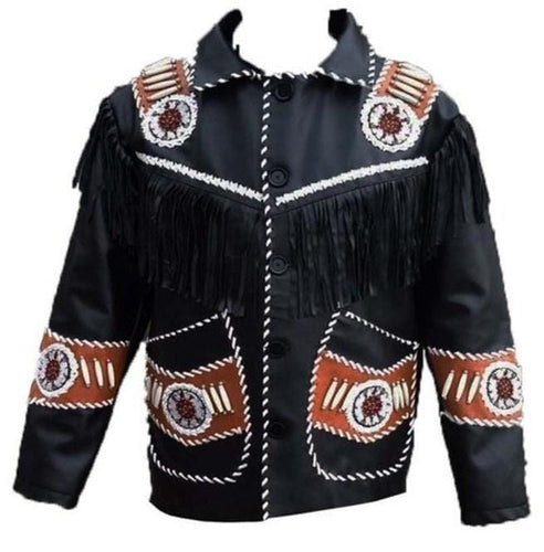 leather404 Clothing, Shoes & Accessories:Men's Clothing:Coats & Jackets s Men's Western Leather Jacket, Handmade Black Cowboy Leather